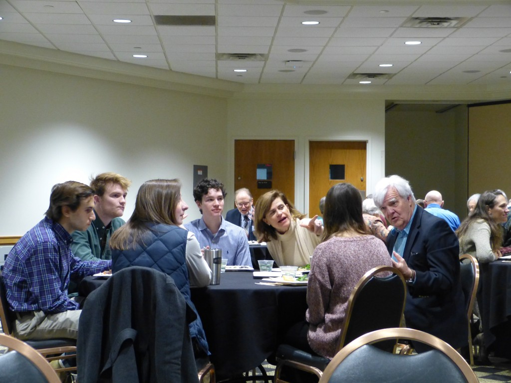 Words Awake student table with Al Hunt